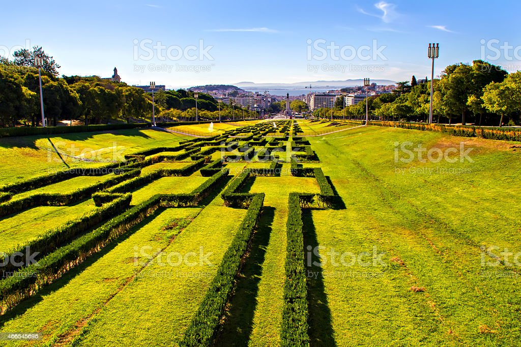 View of Eduardo VII park and Marques de Pombal square stock photo