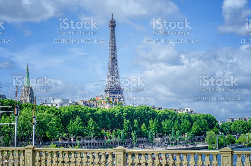 View of Eiffel Tower with the American Church stock photo