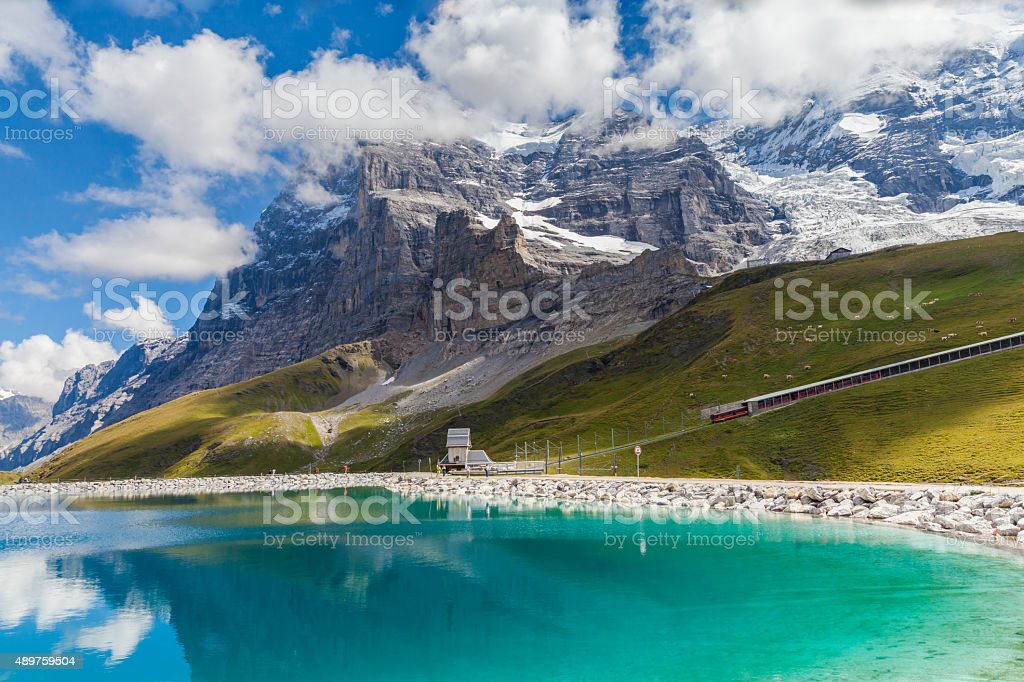 View of Eiger Northface and Fallbodensee stock photo