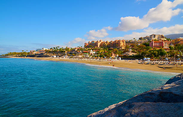 view of el duque beach in costa adeje,tenerife. - teneriffa urlaub stock-fotos und bilder