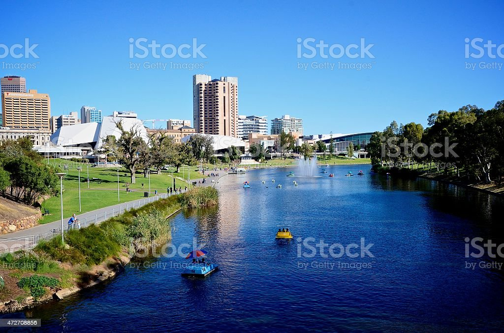 View of Elder Park in Adelaide, South Australia. stock photo