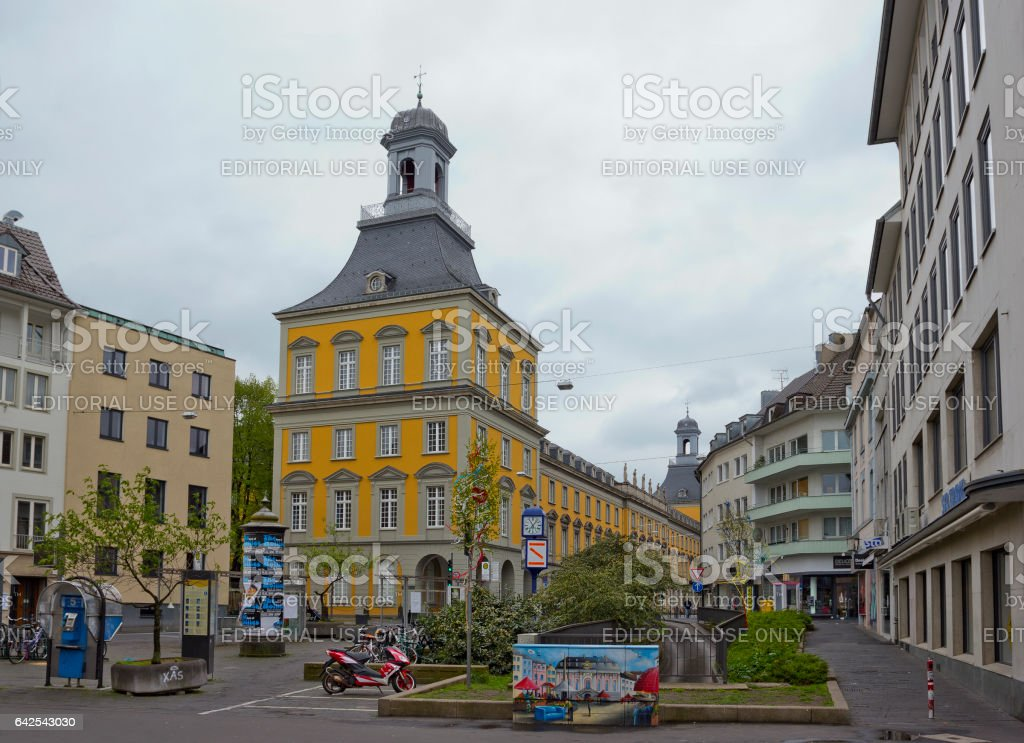 View of Electoral Palace from Bischofsplatz in Bonn, Germany stock photo