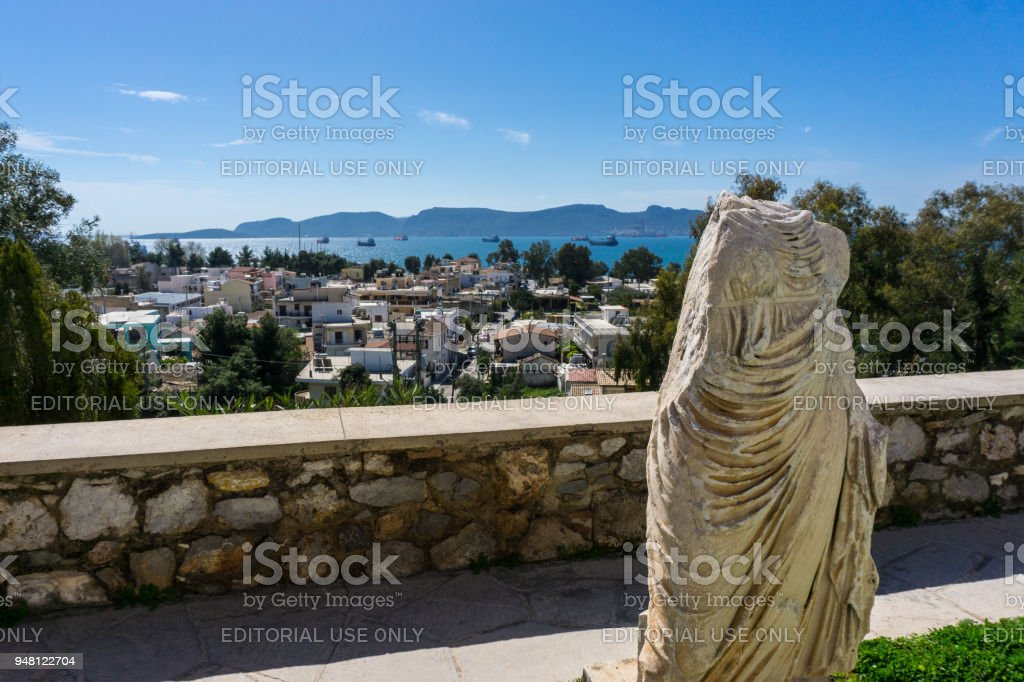 View of Eleusina from the archaeological site of Eleusis (Eleusina). stock photo