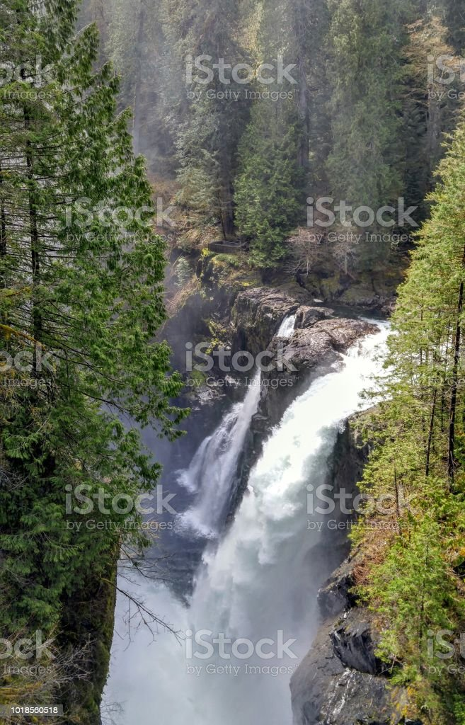 A view of Elk Falls waterfalls in spring stock photo