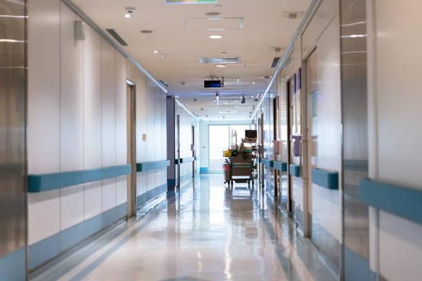 View of empty corridor in hospital stock photo