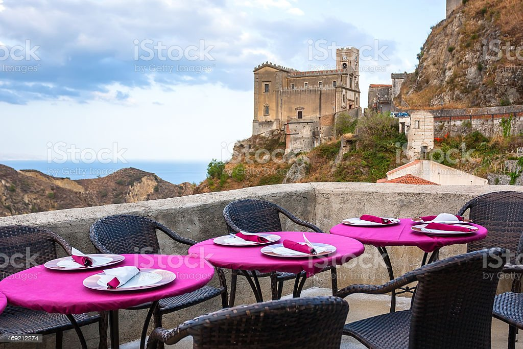 View of empty outdoor cafe in Sicily, Italy stock photo