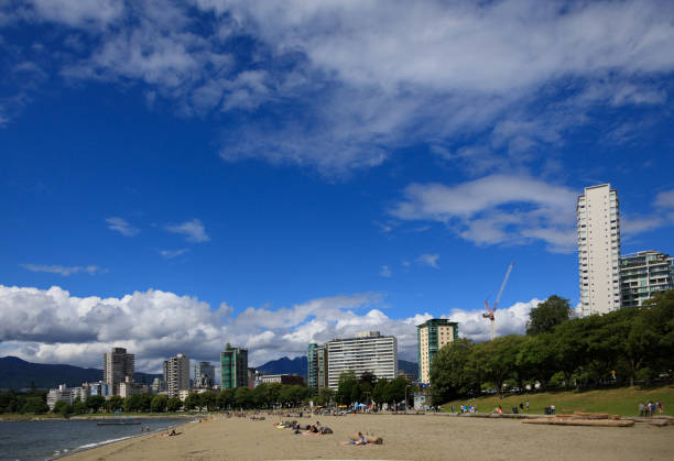 View of English Bay Beach, Vancouver. stock photo