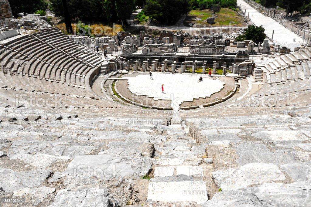 A View Of Ephesus Ancient City Amphitheatre stock photo