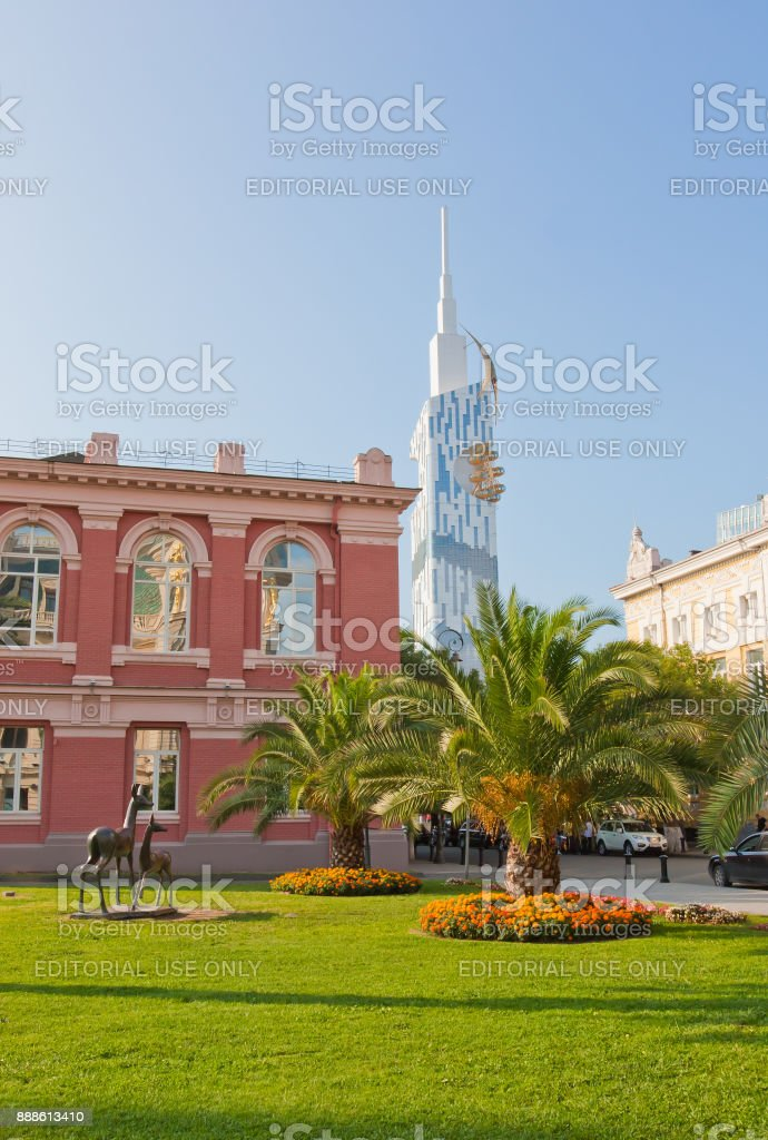 View of Eras Moedani square in Batumi, Georgia. stock photo