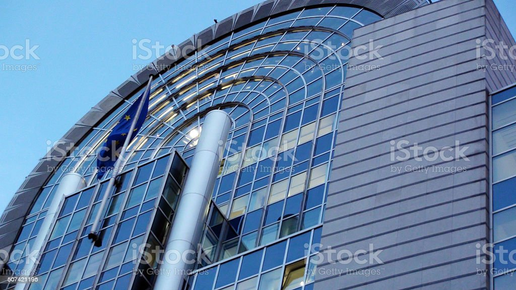 View Of European Parliament Building In Brussels Belgium stock photo