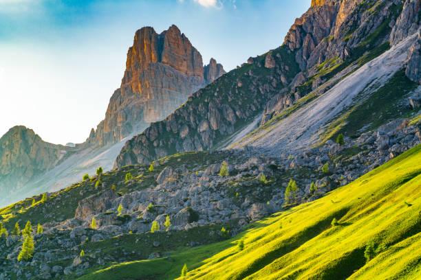 Blick auf Abendlicht auf dem Dolomiten-Berg – Foto