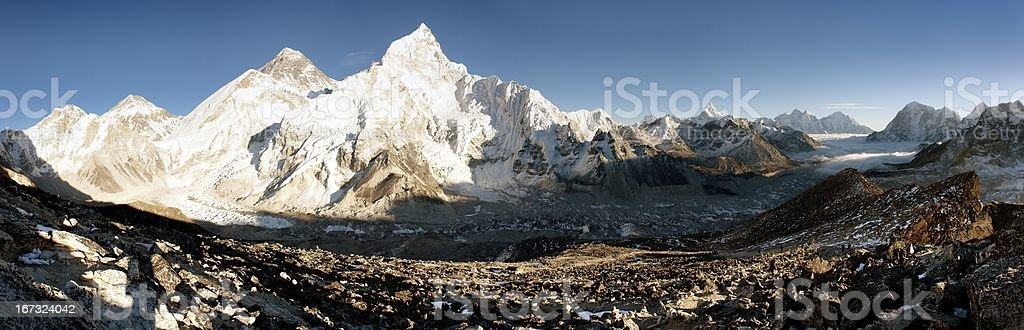 view of Everest and Nuptse from Kala Patthar royalty-free stock photo