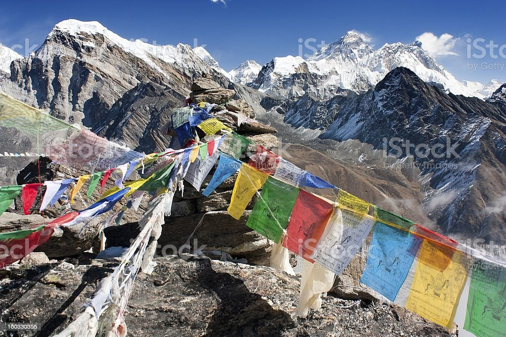 view of everest from gokyo ri with prayer flags royalty-free stock photo