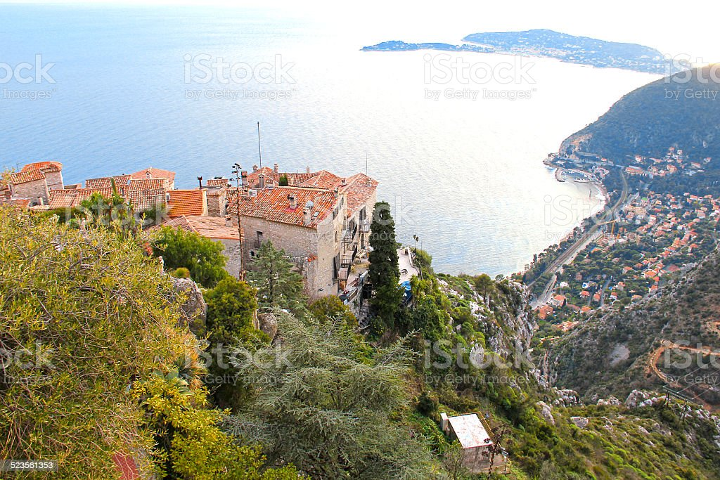 View of Eze, French Riviera stock photo