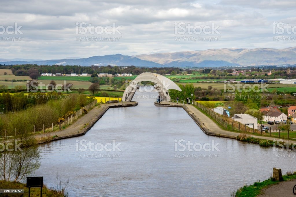 A view of Falkirk Wheel aqueduct and background hills, Scotland stock photo
