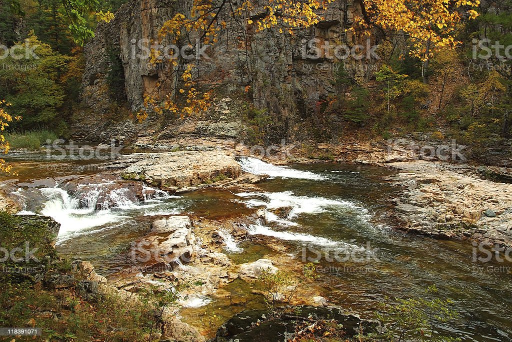 view of fall Vanchin river canyon in russian Primorye stock photo