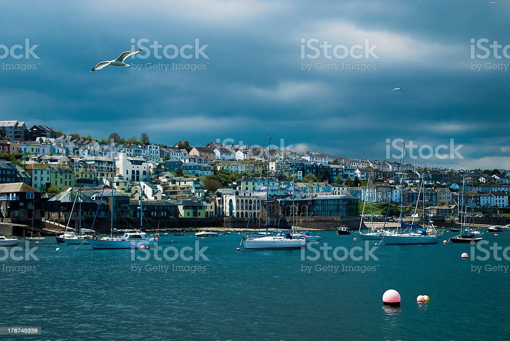 View of Falmouth Harbour stock photo