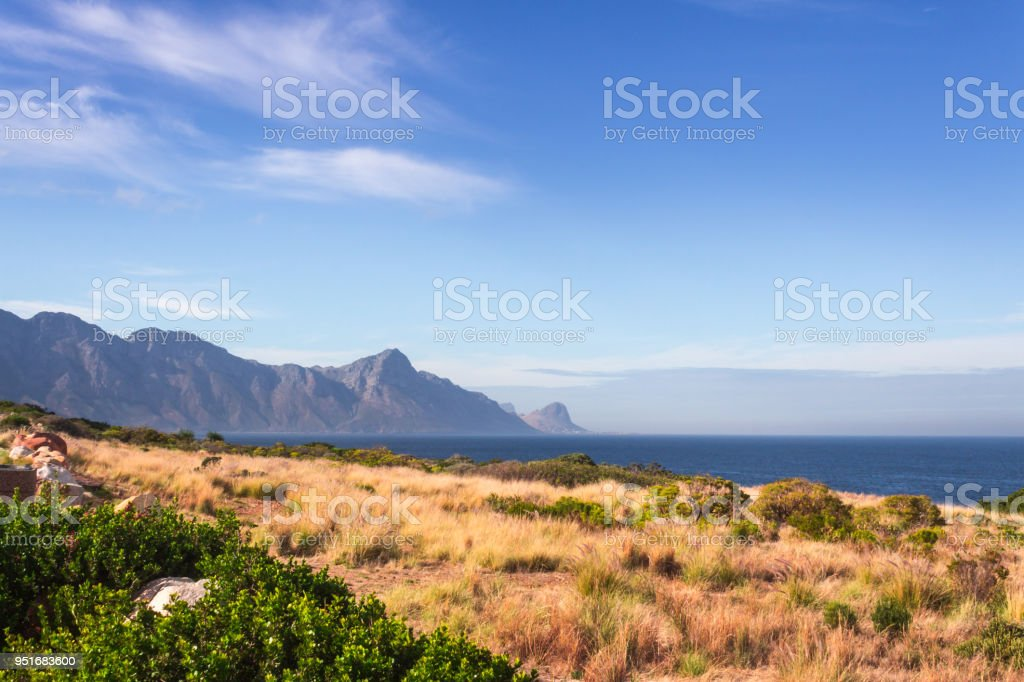 View of False Bay from the Hottentots-Holland Mountains in Gordons bay, Cape Town, South Africa stock photo
