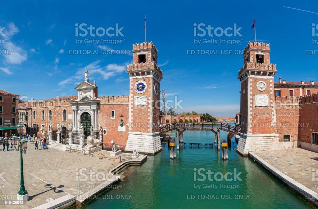 Vista do famoso Arsenal de Veneza, Itália. - foto de acervo