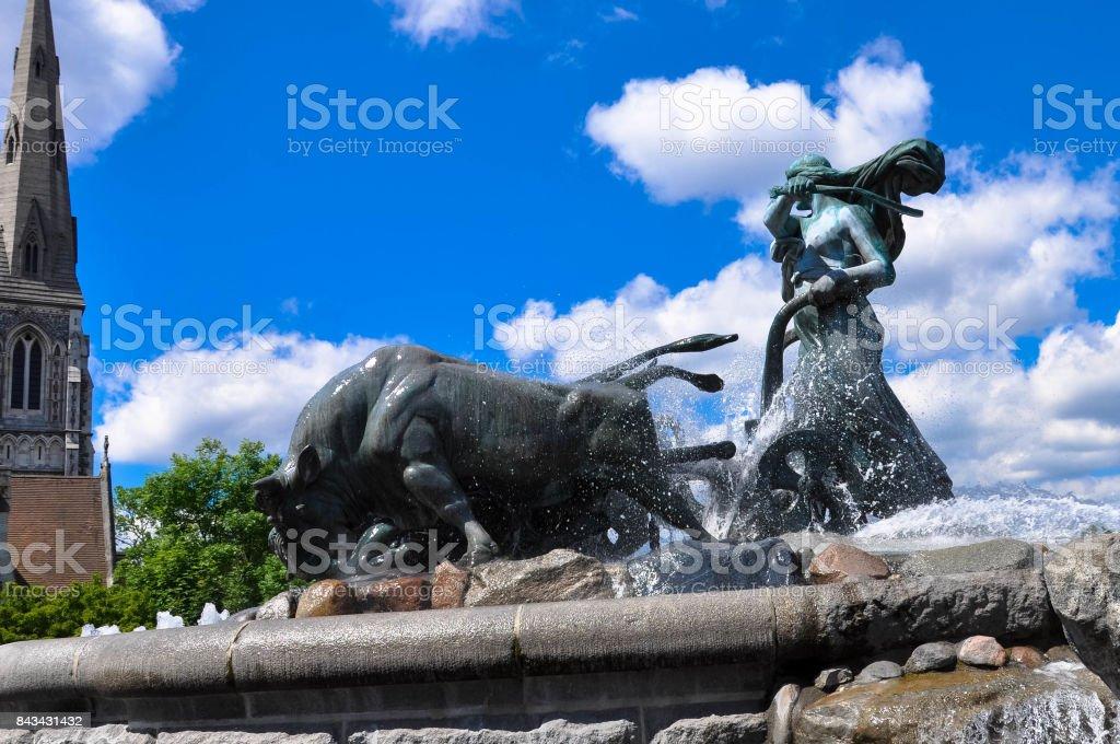 View of famous Gefion Fountain Gefionspringvandet in Copenhagen stock photo