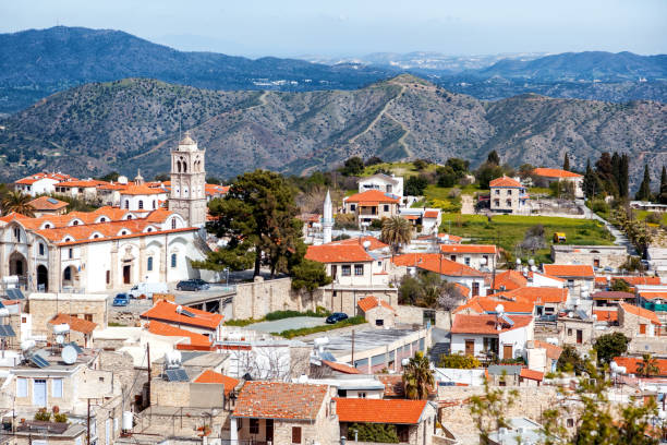 view of famous landmark tourist destination valley pano lefkara - cyprus стоковые фото и изображения