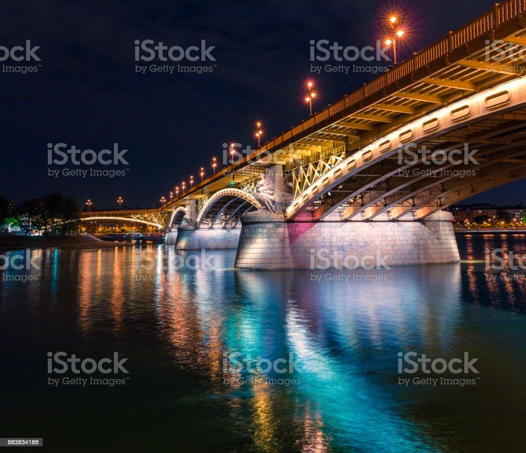 View of famous Margit or Margaret Bridge (sometimes Margit Bridge). stock photo