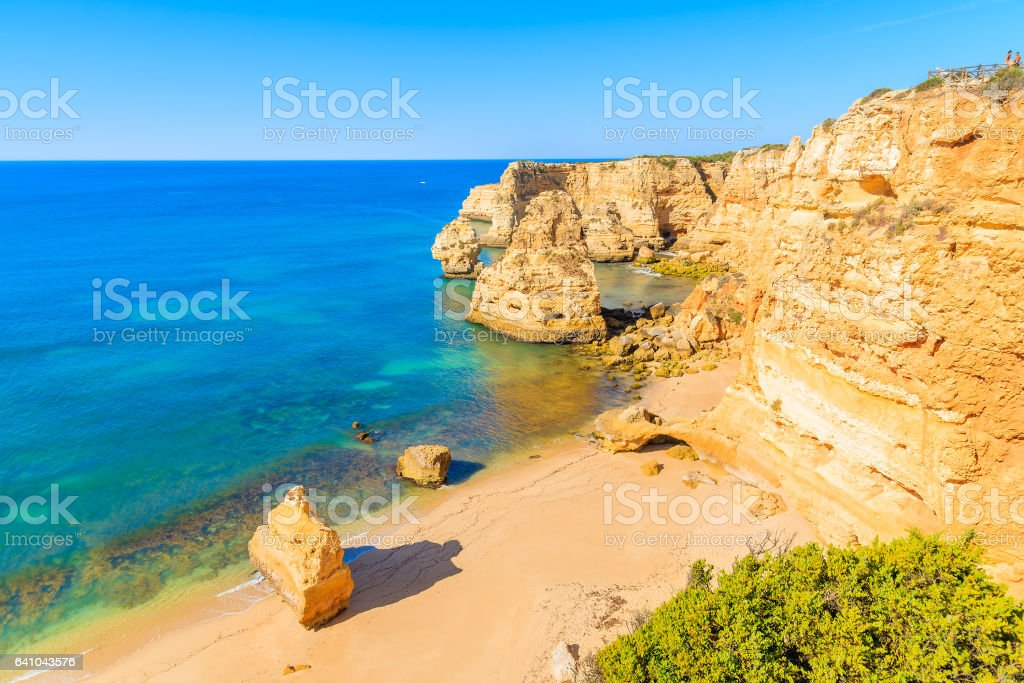 View of famous Marinha beach and rock cliffs from top, Algarve, Portugal stock photo