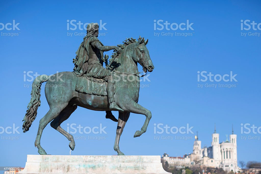 View of famous statue and Basilica in Lyon stock photo
