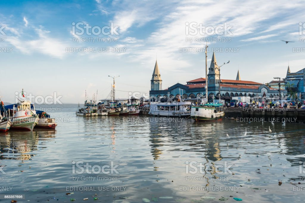 View of famous Ver o Peso Market with boats on river stock photo