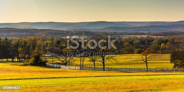 View of farm fields and distant hills from Longstreet Observation Tower in Gettysburg, Pennsylvania.
