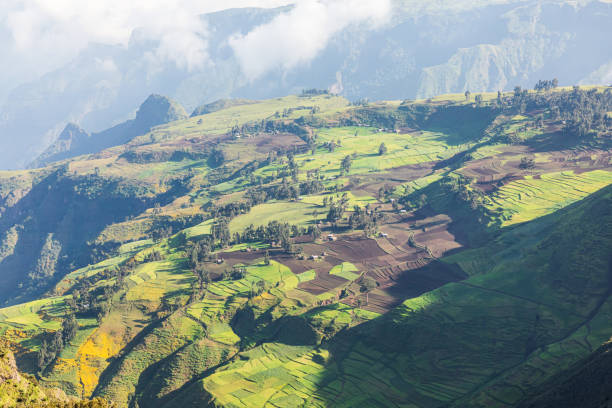 View of farms and a village in the Ethiopian highlands stock photo