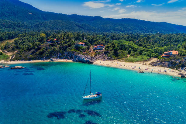 View of Fava Beach in Vourvourou at Chalkidiki, Greece