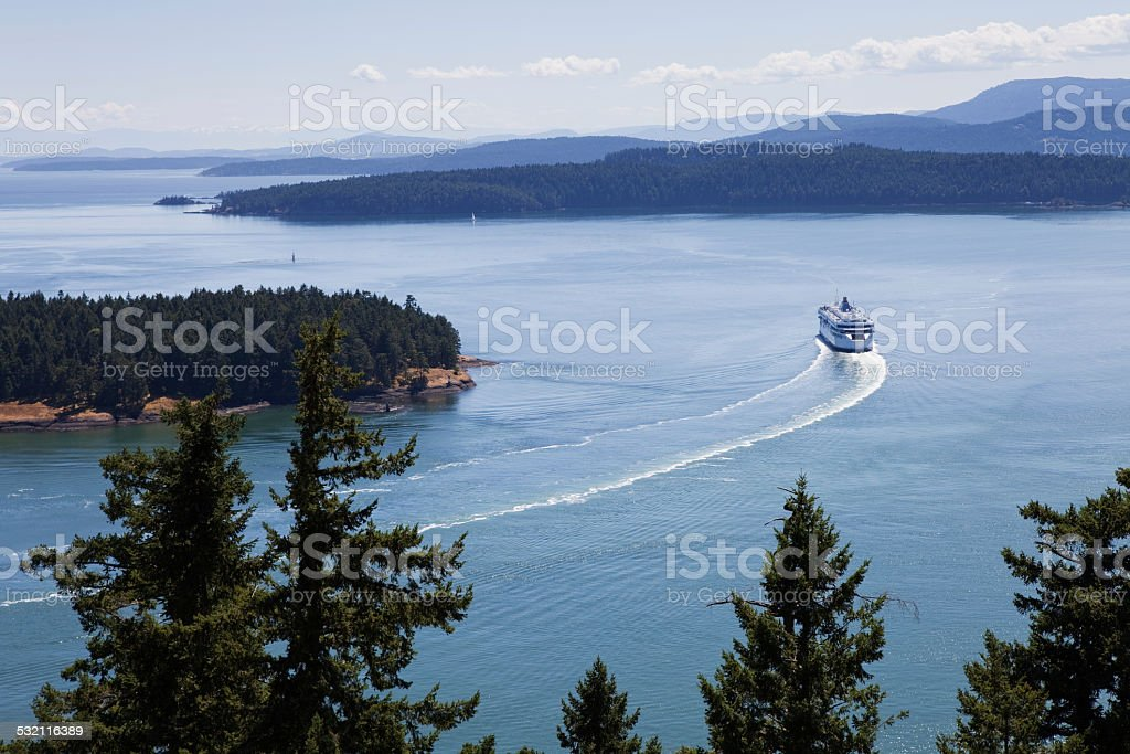 View of Ferry from Galiano Island stock photo