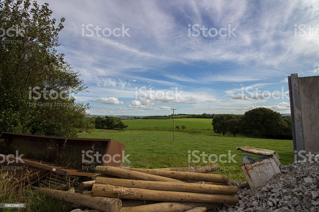 View of fields from farmyard stock photo