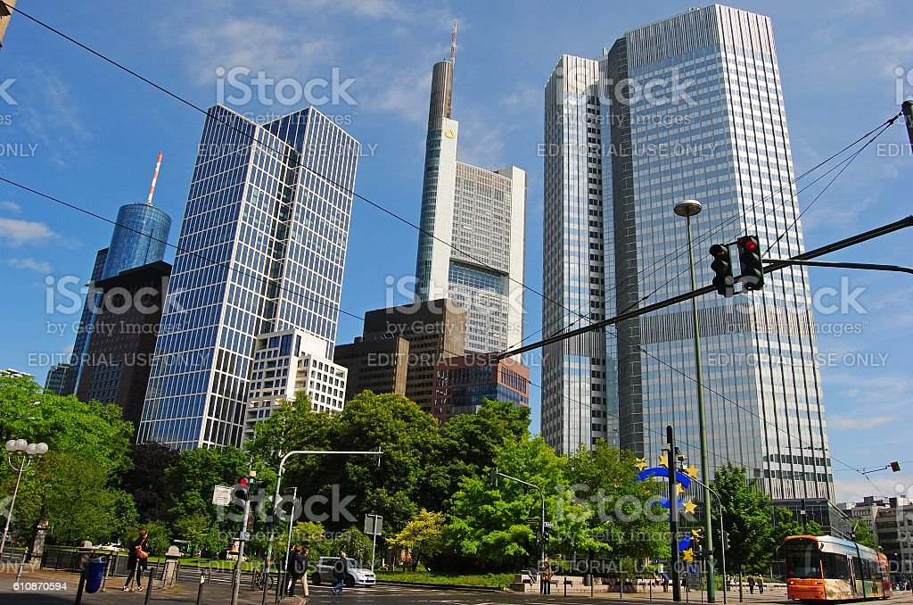 View of Financial district in Frankfurt stock photo
