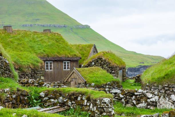 uitzicht op het vissersdorp op het eiland koltur. faeröereilanden. groendak huizen. scandinavische natuur landschap. - faeröer stockfoto's en -beelden