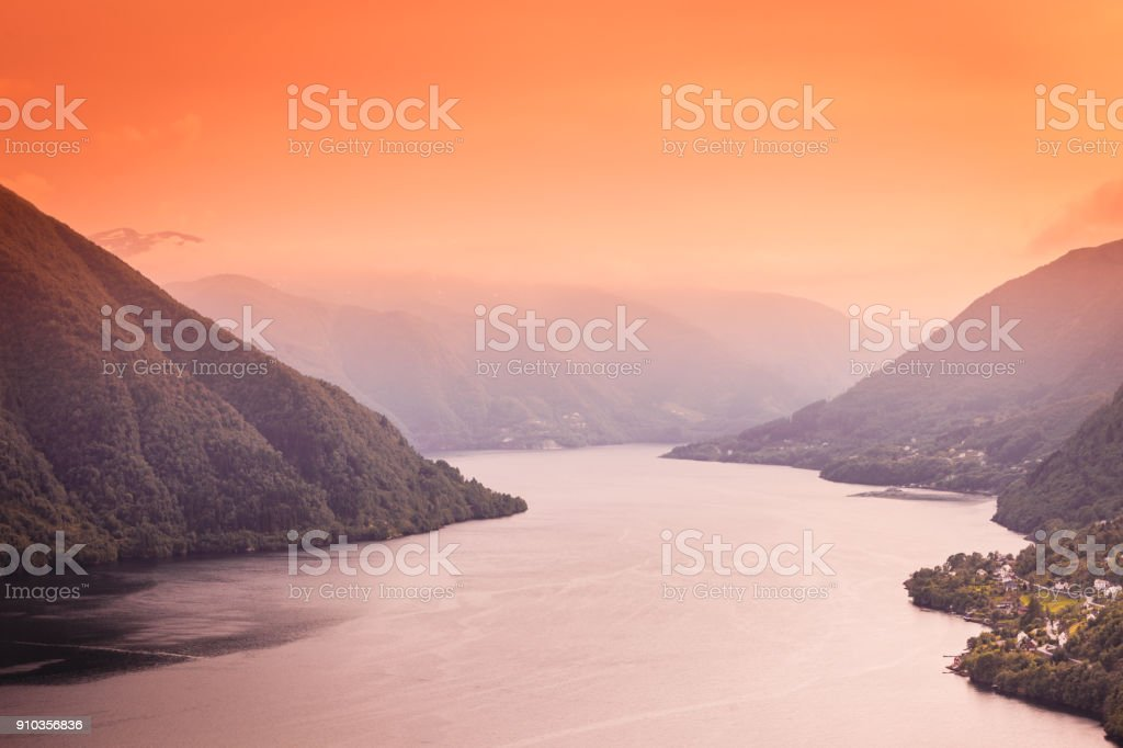 View of fjord near Bergen in Norway stock photo