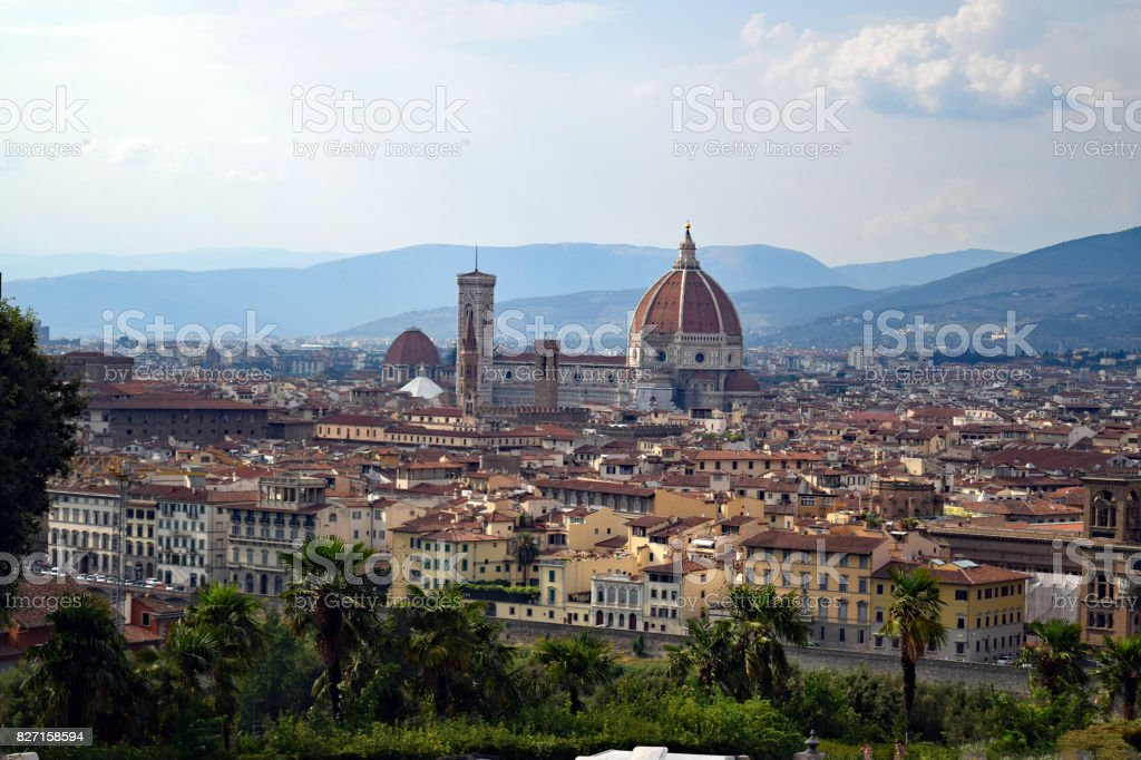 view of Florence and the Duomo from Piazza Michelangelo. Florence, Italy stock photo