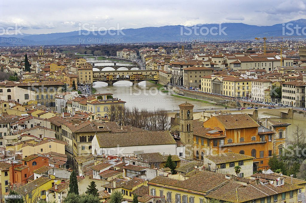 View of Florence, Arno River and famous Ponte Vecchio. Italy. royalty-free stock photo