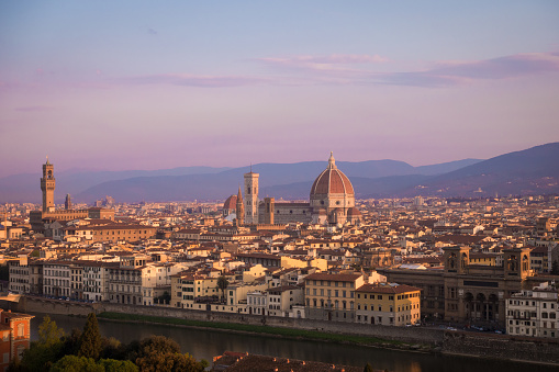 view of Florence at the sunrise time