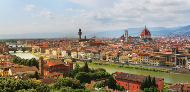 View of Florence Cathedral, Palazzo Vecchio and Ponte Vecchio - the famous landmarks in Florence, Italy stock photo