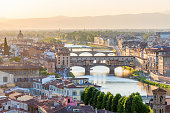 View of Florence in the evening light with the Ponte Vecchio bridge
