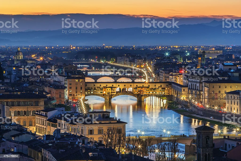 view of Florence with Ponte Vecchio, Italy stock photo