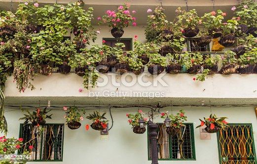 A View Of Flowers On A Balcony Colombia - Stockowe zdjęcia i więcej obrazów Antioquia