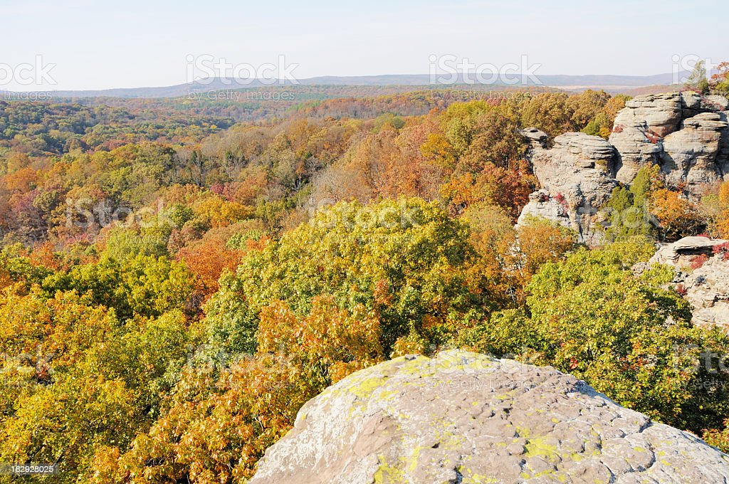 View of foliage in Garden of the Gods, southern Illinois stock photo