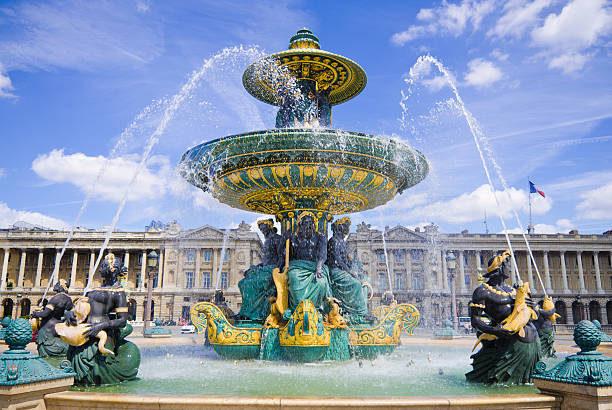 View of Fontaine des Mers at Place de la Concorde in Paris stock photo