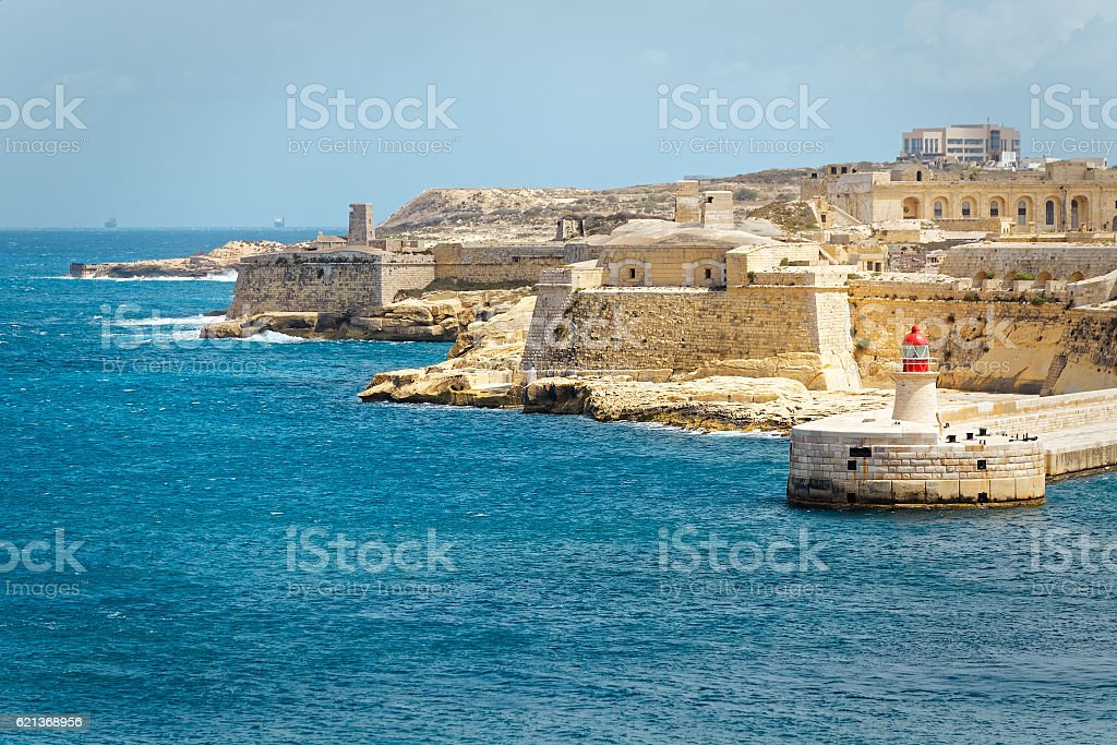 View of Fort Rinella from St. Elmo, Valletta stock photo