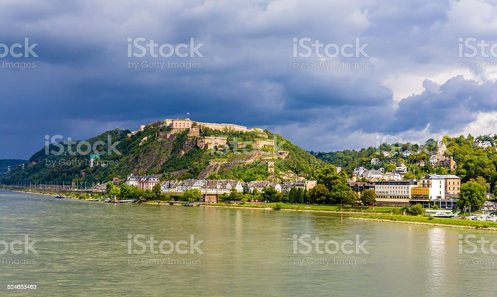 View of Fortress Ehrenbreitstein in Koblenz, Germany stock photo