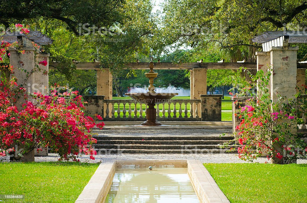 View of fountain in the middle of Country Club Prado stock photo