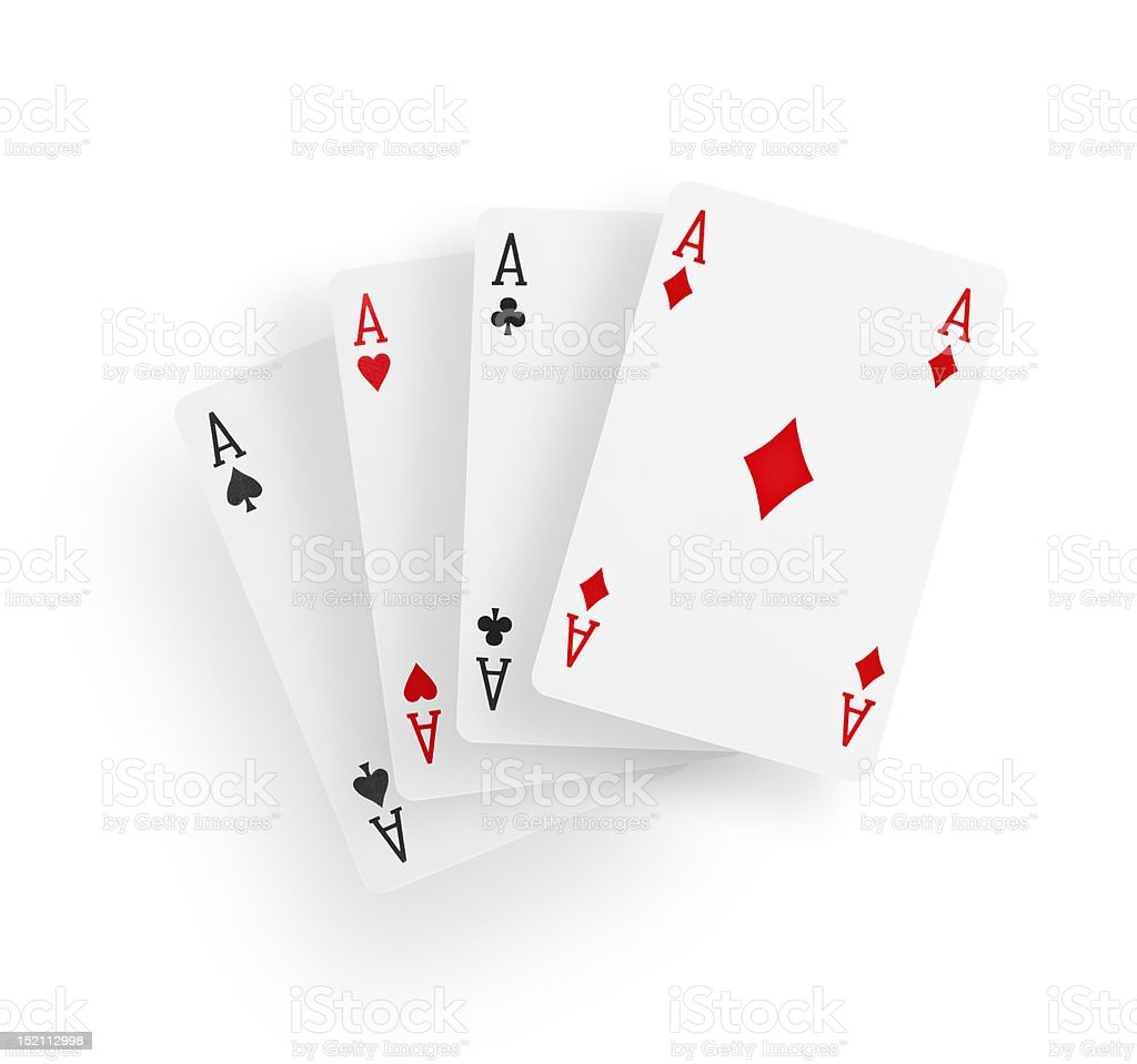 View of four aces playing cards stock photo